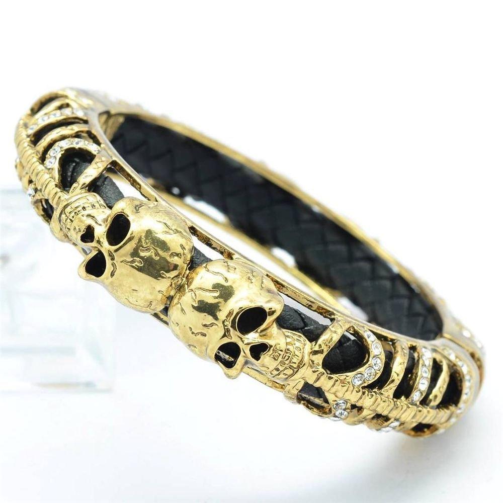 Vintage Style Black Leather Skull Bracelet Bangle Cuff Swarovski Crystals