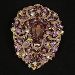 Rhinestone Crystals Big Teardrop Purple Pendant Flower Brooch Pin 4.9""
