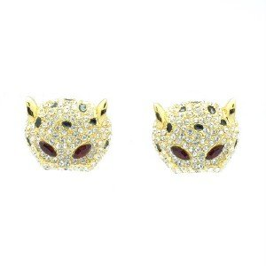 High Quality Swarovski Crystals Clear Penther Leopatd Pierced Earring