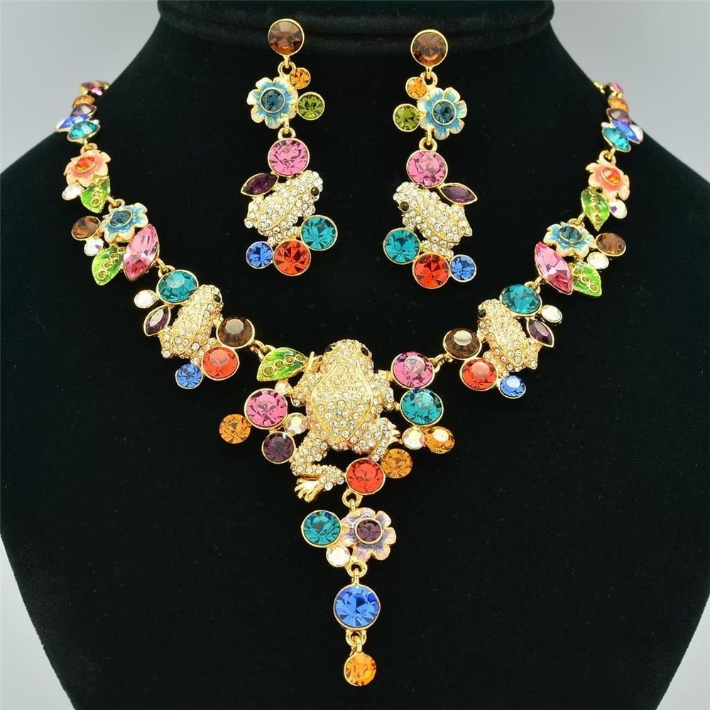 H-Quality Animal Flower Frog Necklace Earring Set Swarovski Crystals SNA3182-3