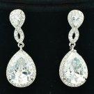Wedding Zircon Rhinestone Crystals Clear Drop Dangle Pierced Earring FA3291