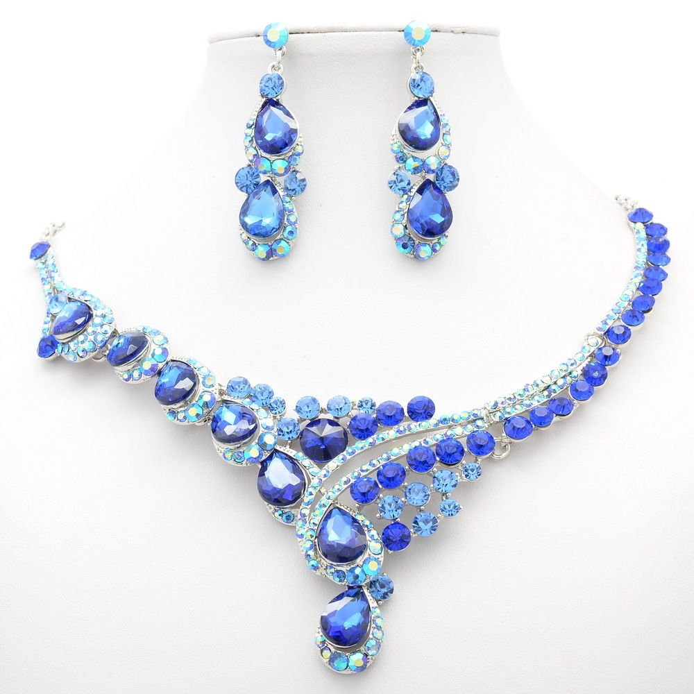 Gorgeous Flower Necklace Earring Set Jewelry Rhinestone Crystal Women Party 2830