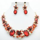 Red Flower Necklace Earrings Jewelry Sets Rhinestone Crystals Party Jewelry 5397