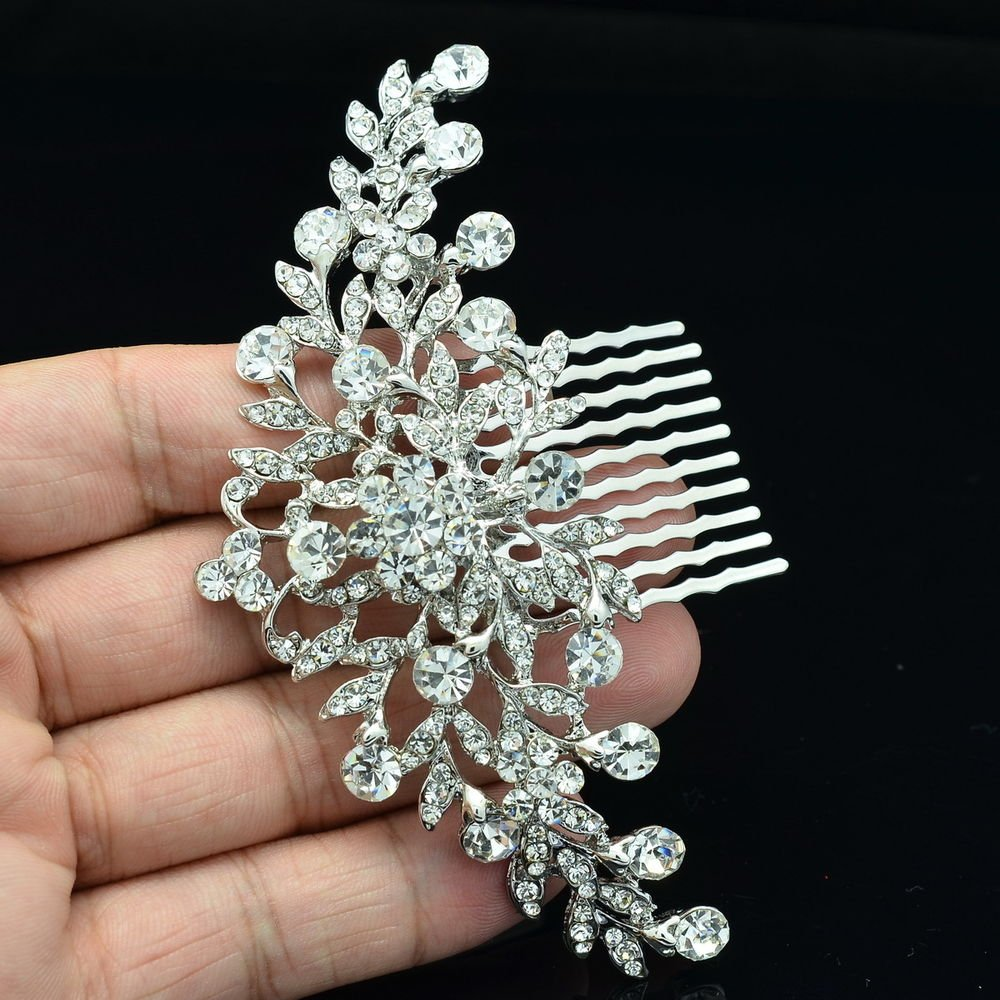 Princess Wedding Bridal Bridesmaid Clear Flower Hair Comb Rhinstone Crystal 2944