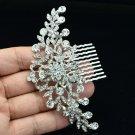 Princess Wedding Bridal Bridesmaid Clear Flower Hair Comb Rhinstone Crystal 2944