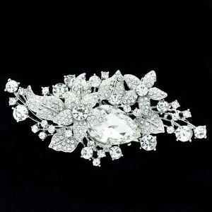 Bridal Wedding Glitzy Drop Leaf Flower Brooch Broach Pin Rhinestone Crystal 6405
