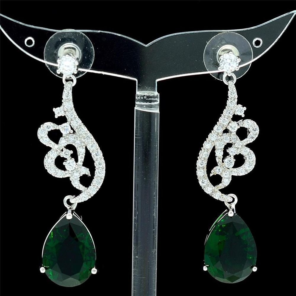 Swarovski Crystals Green Zircon Drip Flower Pierced Earring Dangle W/ 01624