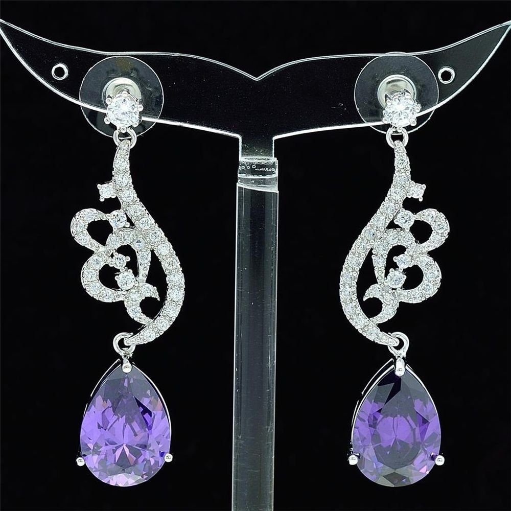 Elegant Purple Zircon Dangle Drip Flower Pierced Earring Swarovski Crystal 01624