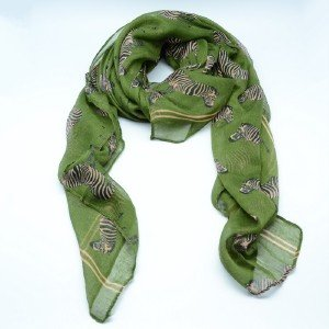 Women Fashion Zebra Print Dark Green Long Scarf Pashmina Wrap Shawl Scarves