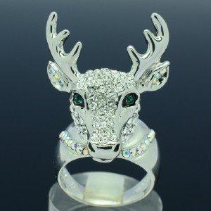 Wedding Clear Animal Deer Cocktail Ring Women Size 8# W/ Swarovski Crystals