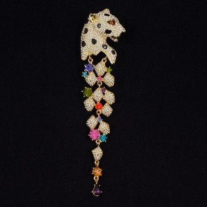 High Quality Swarovski Crystals Dangle Animal Leopard Brooch Pin MultiColor 5.6""