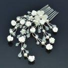Wedding Bridal Faux Peral White Flower Hair Comb W/ Clear Swarovski Crystals