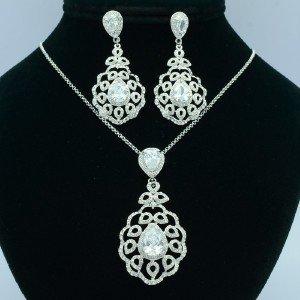 Bridal Zircon Teardrop Flower Necklace Earring Sets W/ Clear Rhinestone Crystals