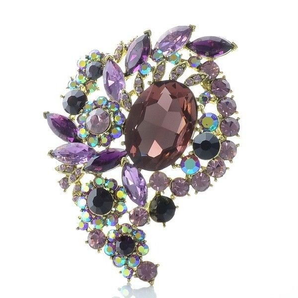 "Purple Oval Flower Bud Brooch Broach Pin 3.1"" for Women Rhinestone Crystal 4883"