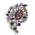 """Purple Oval Flower Bud Brooch Broach Pin 3.1"""" for Women Rhinestone Crystal 4883"""