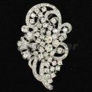 """2.9"""" Chic Birdal Wedding Flower Brooch Broach Pin Clear Rhinestone Crystals 5630"""