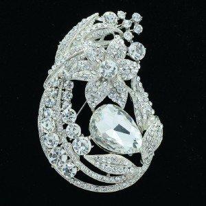 Gorgeous Leaf Flower Brooch Pin Clear Rhinestone Crystal Floral For Wedding 6020