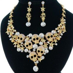18K Gold Plated Star Skull Necklace Earring Set Wedding Clear Swarovski Crystal