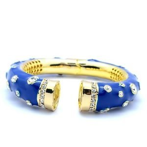 High-Quality Clear Swarovski Crystals Mandarin Blue Enamel Bracelet Bangle w/