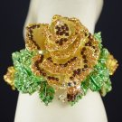Fashion Rhinestone Crystals Big Brown Bee Flower Rose Bracelet Bangle Cuff Women