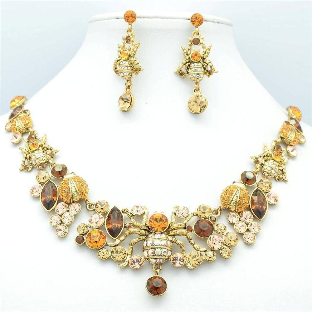 Vintage Spider Ladybug Necklace Earring Jewelry Sets Brown Swarovski Crystals
