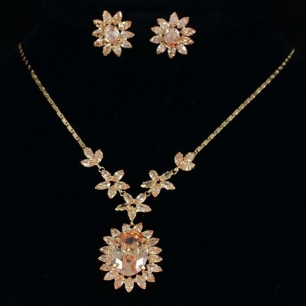High Quality Topaz Zircon Flower Necklace Earring Sets W/ Swarovski Crystals