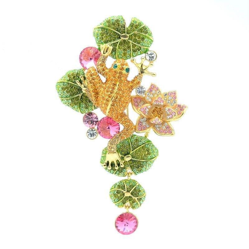 High Quality Lotus Leaf Topaz Froggy Frog Brooch Pin Swarovski Crystals SBA4362