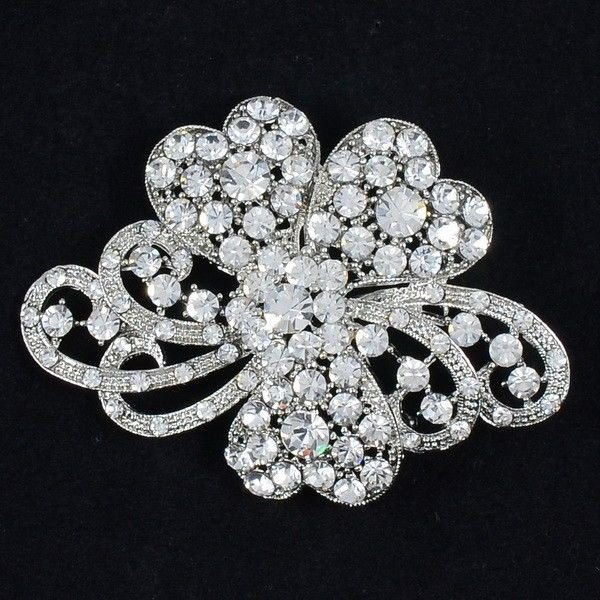 Wedding Women Clear Bow Bowknot Brooch Broach Pins Rhinestone Crystals 4929