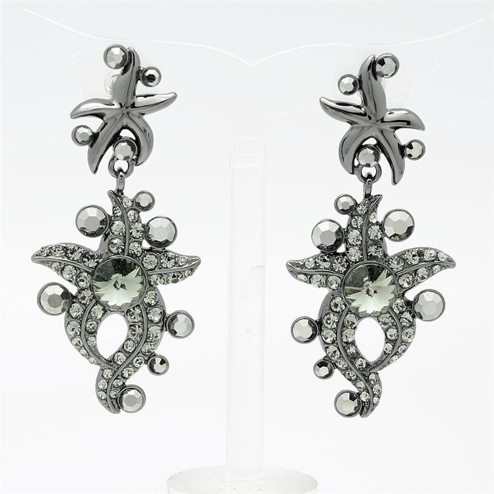 High Quality Black Starfish Pierced Earring Dangle Swarovski Crystals SEA0877-4