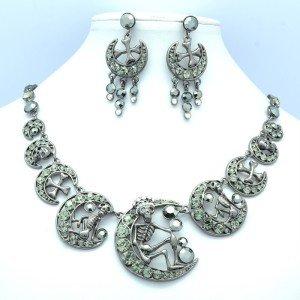 Black Swarovski Crystals Cluster Moon Cross Skeleton Skull Necklace Earring Set