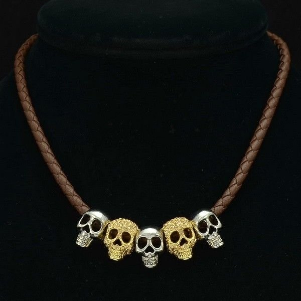 Swarovski Crystal 5 Skull Head Synthetic Leather Necklace Pendant Jewelry SN3189