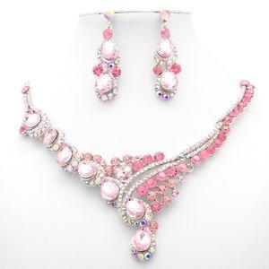 Rhinestone Crystal Women Jewelry Cute Teardrop Flower Necklace Earring Set 2830