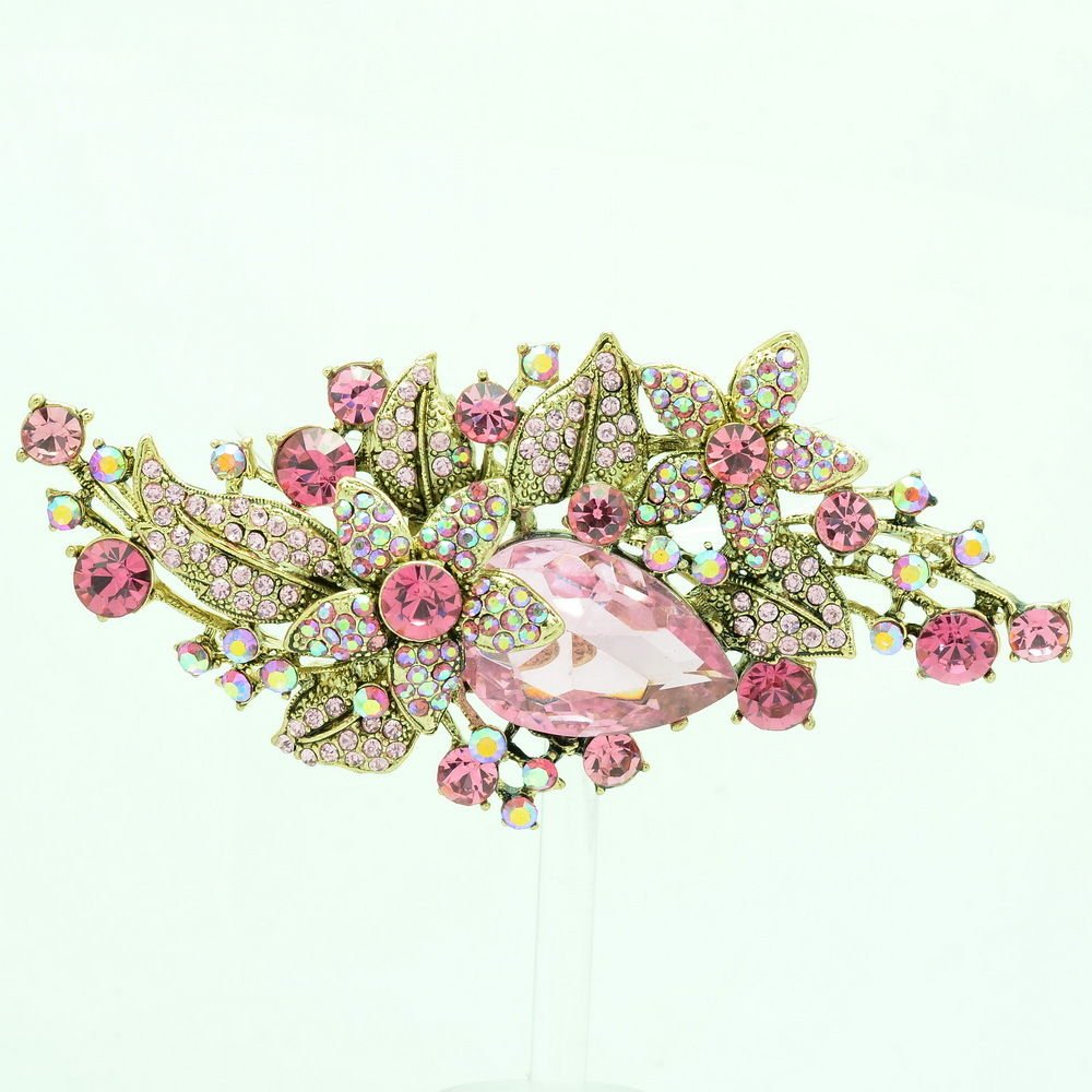 Vintage Glitzy Drop Leaf Flower Brooch Broach Pin Pink Rhinestone Crystal 6405