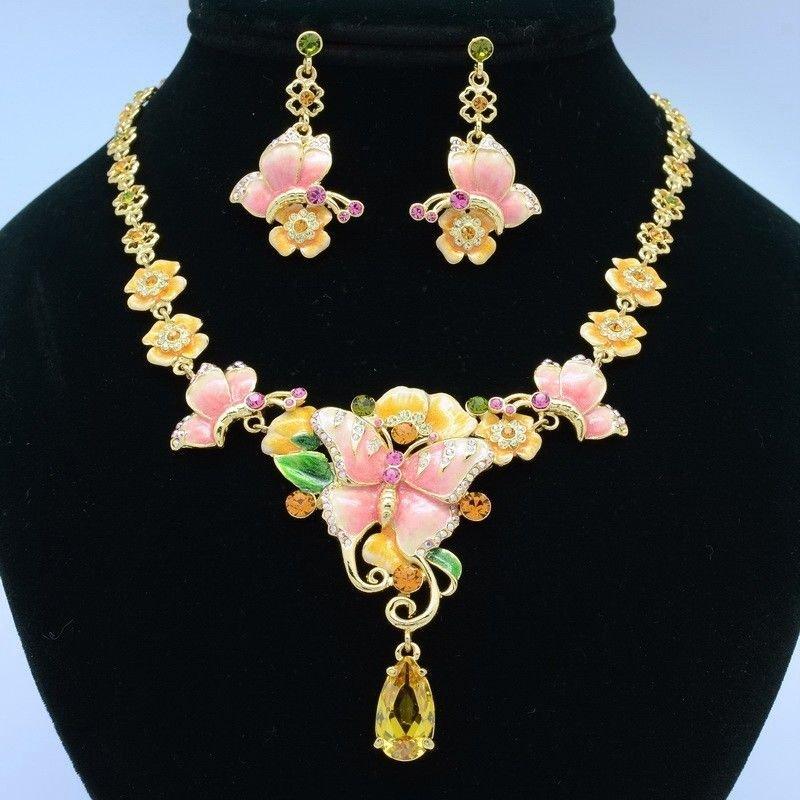 Enamel Flower Pink Butterfly Necklace Earring Sets w Swarovski Crystals SN3012-1