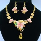 Enamel Flower Pink Butterfly Necklace Earring Sets w Swarovski Crystals SN3012-1