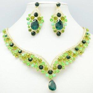 Showy Drop Flower Necklace Earring Set Green Rhinestone Crystal NC-5535