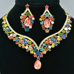 Showy Drop Flower Necklace Earring Set Rhinestone Crystal Multi-Color NC-5535