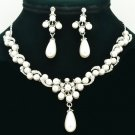 Wedding Faux Pearl Necklace Earring Set Rhinestone Crystals Women's Jewelry 6040