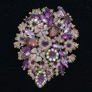 "Purple Retro Drop Rhinestone Crystals Flower Brooch Broach Pin 3.9"" Pendant"