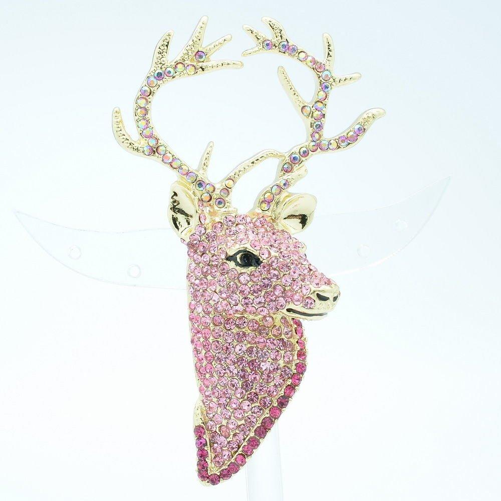 Rhinestone Crystal Animal Head Pink Deer Brooch Broach Pin Accessories FA3181