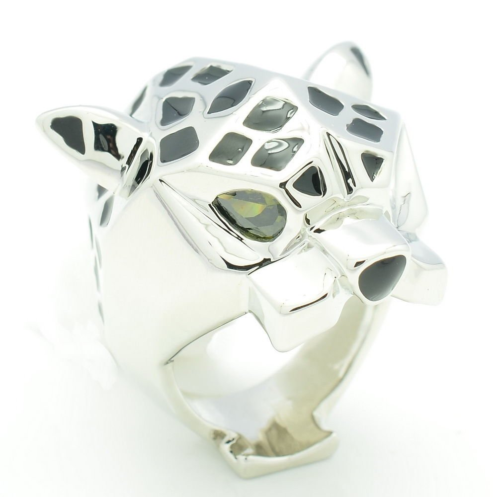 New 2014 Women Fashion Jewelry Animal Panther Leopard Cocktail Ring Silver Tone
