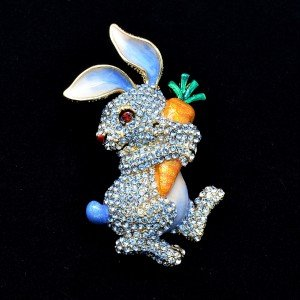 Hi-Q Cute Carrot Hare Rabbit Brooch Pin Swarovski Crystals Blue Enamel SBA4474
