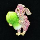 Cabbage Bunny Rabbit Brooch Broach Accessories Pink Swarovski Crystal SBA4507