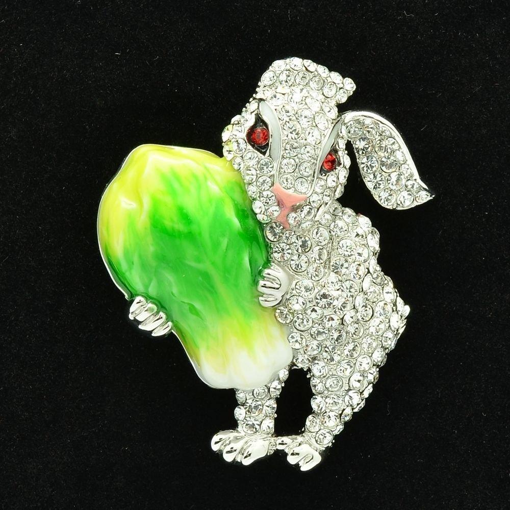 Cabbage Bunny Rabbit Brooch Broach Accessories Clear Swarovski Crystal SBA4507