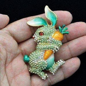 Hi-Q Cute Carrot Hare Rabbit Brooch Pin Swarovski Crystals Green Enamel SBA4474