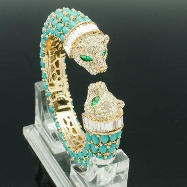 Rhinestone Crystals Green  Acrylic Animal 2 Leopard Bracelet Bangle Cuff 00988