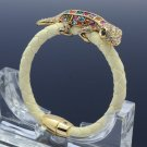 Swarovski Crystals Multicolor Gecko Lizard Bracelet Synthetic Leather  SK1737