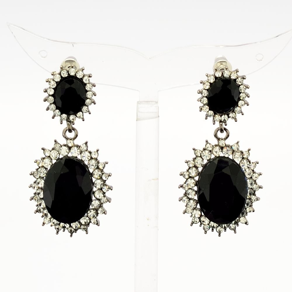 Dazzling Black Dual Oval Pierced Dangle Earring W/ Rhinestone Crystals 122115
