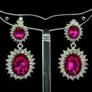 Dazzling Fuchsia Dual Oval Pierced Dangle Earring W/ Rhinestone Crystals 122115