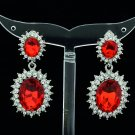 Dazzling Red Dual Oval Pierced Dangle Earring W/ Rhinestone Crystals 122115